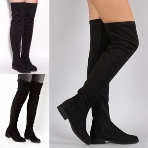 Forever 21 Faux Suede OTK Black Pull On Boots Sz 6